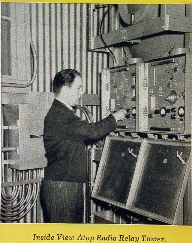 Western Union Telegraph Company photo of engineer inside a relay tower cab. Original in the collections of the Smithsonian National Museum of American History.