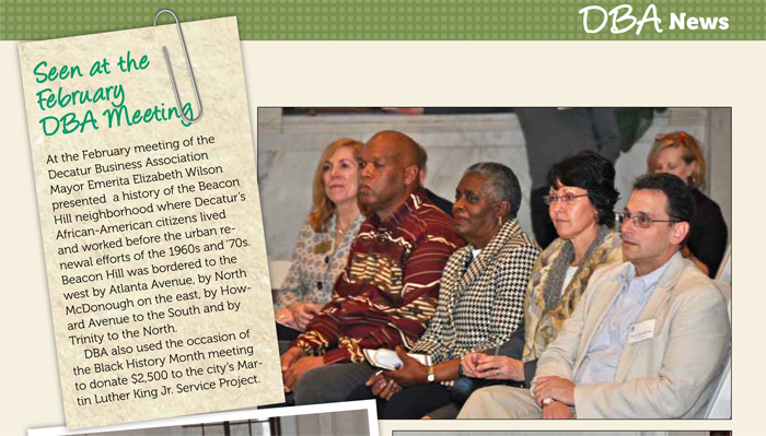 The author and his wife are seated next to former Decatur mayor Elizabeth Wilson. Credit: April 2012 Decatur Focus.