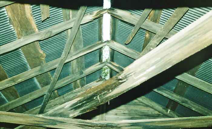 Due West Road Blacksmith Shop (9Co246): Roof, interior. Note open ridge, presumably for ventilation. October 1986.