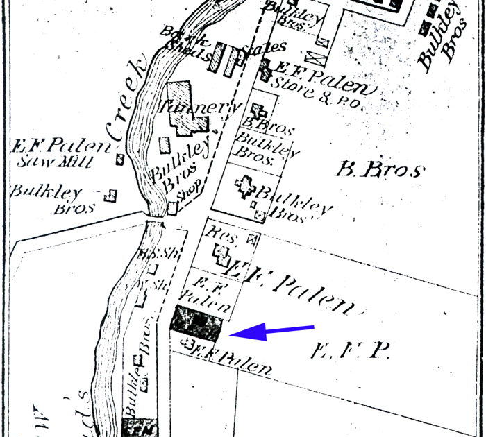 Canadensis c. 1873. Arrow points to Gilbert Palen's house (owned by then by his brother, Edward) which was later converted into the Pine Knob Inn.