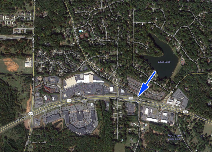 Due West Blacksmith Shop site. Google Earth-USGS aerial photograph.