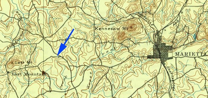 Due West Blacksmith Shop site, c. 1901. USGS Marietta Quadrangle..