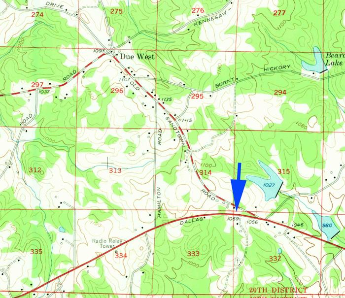 Due West Blacksmith Shop site, c. 1954. USGS Lost Mountain Quadrangle..