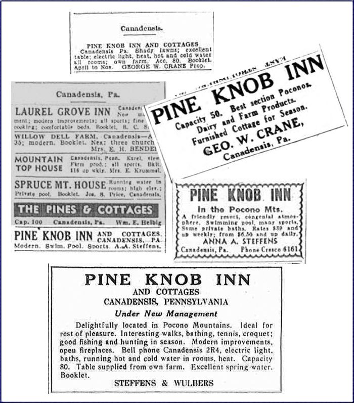 Pine Knob Inn advertisements published in New York and Pennsylvania Newspapers, c. 1910-1940.