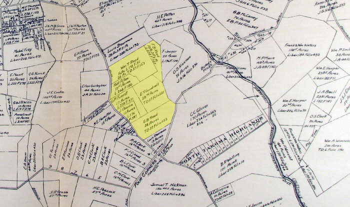 1916 Montgomery County real estate atlas showing location of Read properties (current and former) shaded in yellow.
