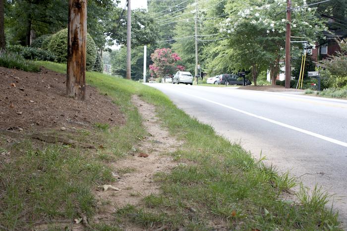 Desire line, Briarcliff Road, Atlanta, Ga. August, 2013.
