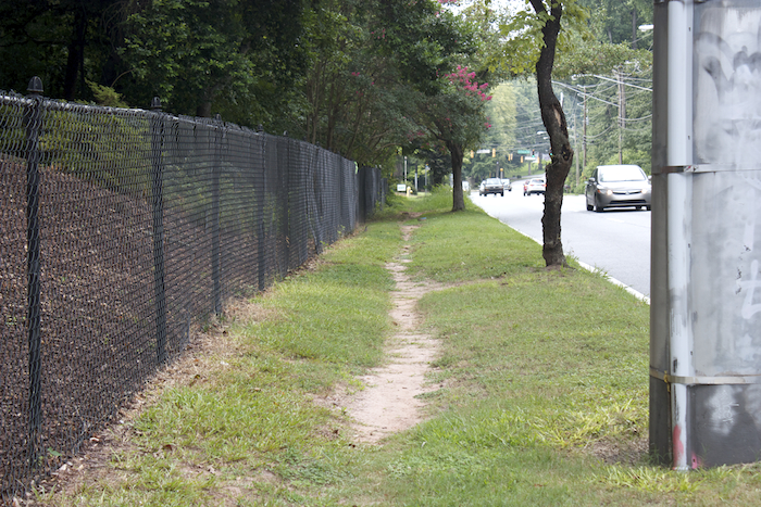 Desire line, Briarcliff Road, Atlanta, Ga. August 2013.