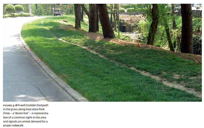 "DeKalb County desire line illustrated in the 2008 study, ""A New Public Realm for DeKalb County."""