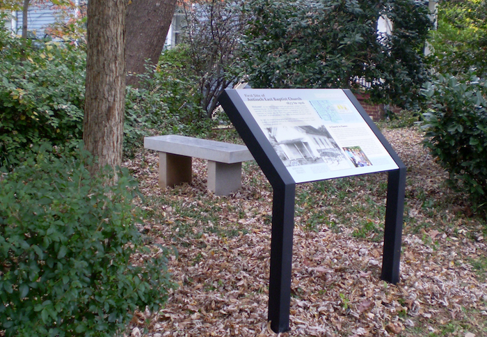 New historical marker and commemorative bench. Photo by Edith Kelman.