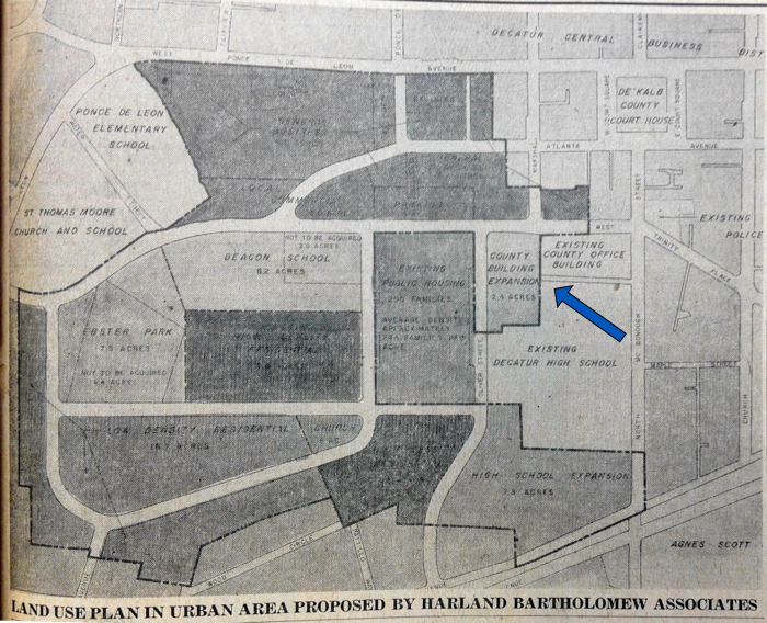 Decatur urban renewal area. Decatur-DeKalb News, Oct. 13, 1960. Arrow indicates former Antioch church site.