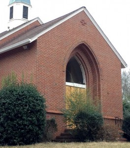 Former Antioch church facade, Jan. 2014.