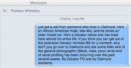 iMessage, David Rotenstein to Creative Loafing's Thomas Wheatley, July 18, 2013.