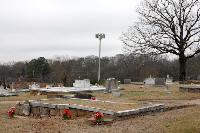 Tower as seen from South-View Cemetery interior. Photo by author, March 19, 2014.