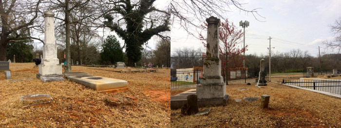 Eliza Ann Turner was married to Bishop David Turner when she died in 1889. The two photos show her burial site when viewed from the west (right) and east (left). Photo by author, March 15, 2014.