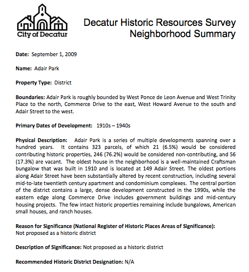 Adair Park summary. City of Decatur Historic Resources Survey Final Report, Sept. 1, 2009, p. 19.