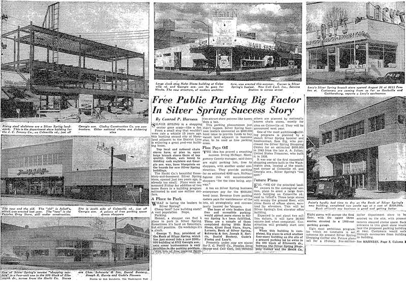 Free Public Parking Big Factor In Silver Spring Success Story. The Washington Post, Nov. 27, 1949.