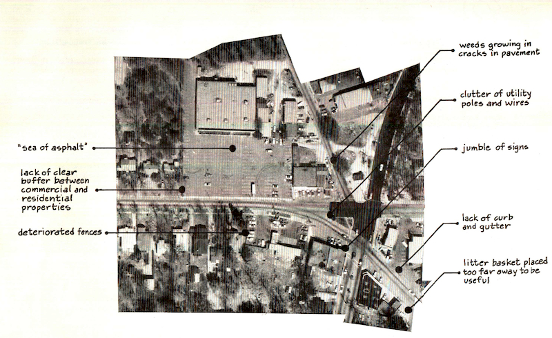 """Problems: Appearance,"" Oakhurst Shopping District Revitalization Plan, 1979. Decatur, Ga."