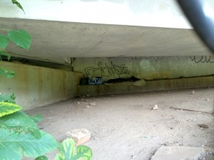 Homeless campsite beneath Freedom Parkway, August ,2014.