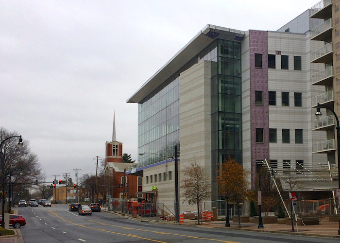 Silver Spring's future (new library and Purple Line station) juxtaposed against its past (First Baptist Church of Silver Spring prepped for demolition).
