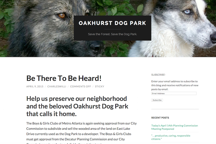 Oakhurst Dog Park (http://oakhurstdogpark.com/) website. Screen capture April 2015.