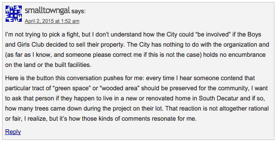 "Phyllis Gilbert (aka, ""smalltowngal"") commenting on Decatur Metro, Apr. 2, 2015."