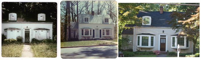 Three views of a Decatur dollar home. Pre-rehabilitation (c. 1980), post-rehabilitation (1980s), and 2012.
