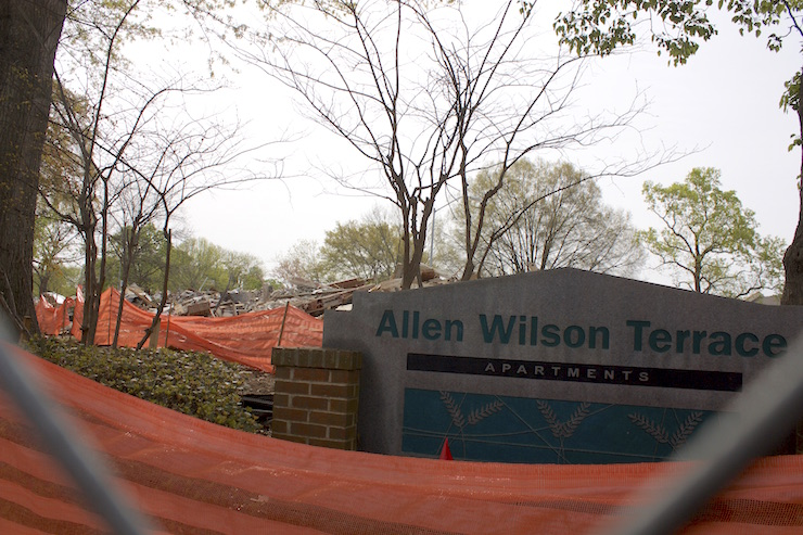 Allen Wilson Terrace being demolished in April 2014.