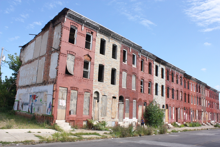 Abandoned row houses, Baltimore.