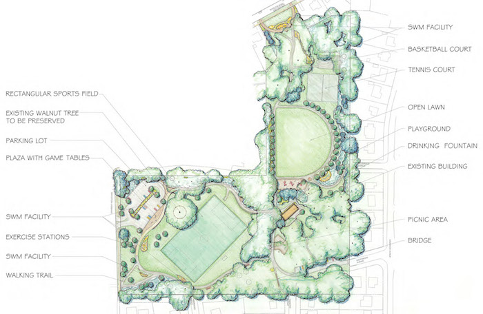 New site plan for North Four Corners Park. Credit: M-NCPPC.