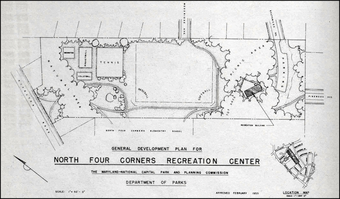 North Four Corners Park Plan. Credit: 1955-1956 M-NCPPC Annual Report.