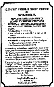 Urban Homesteading program ad published in the Washington Post, March 12, 1977.