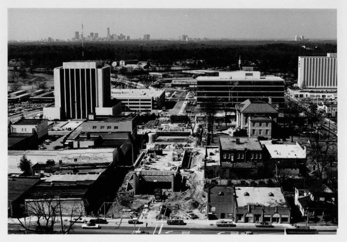 Undated MARTA construction photo showing downtown Decatur. Credit: AJCP229-016t, Atlanta Journal-Constitution Photographic Archives. Special Collections and Archives, Georgia State University Library.