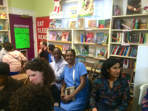 Veronica Edwards (center) at the Tearing Down Oakhurst program, Charis Books and More, March 11. 2014.
