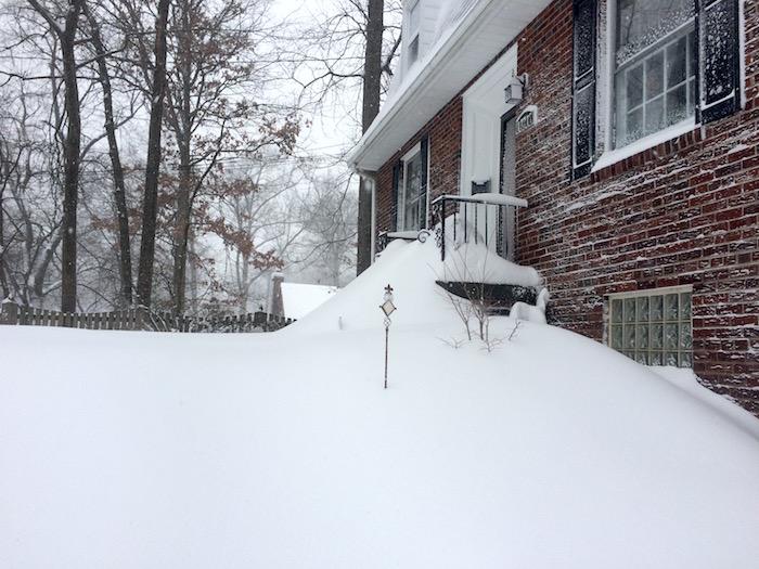 Front steps before shoveling.
