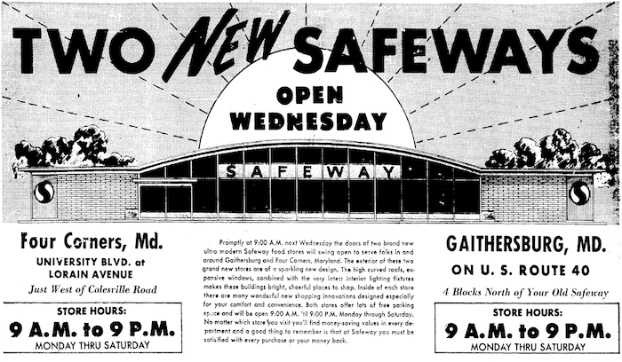 Safeway advertisement, Washington Evening Star, October 1, 1962.