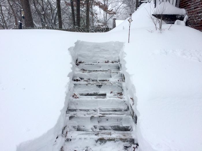 Front steps during shoveling.