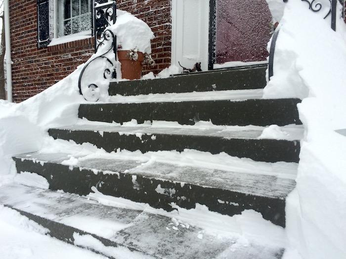 Front porch after shoveling.
