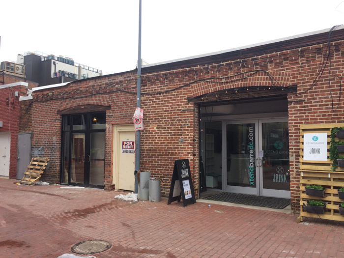 "Pilates studio in Blagden Alley, NW. According to the business's website, it is ""located in the Shaw neighborhood of Washington DC. It is nestled in Blagden Alley which holds a ton of history and is currently undergoing quite a renaissance; it's neighbors include Rogue 24, La Colombe Coffee and Wag Time. The studio is urban with graffiti-like signage, but chic and warm once inside."""