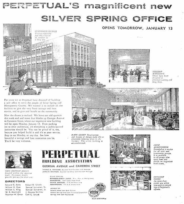 Advertisement announcing the opening of Perpetual's Silver Spring Branch reproduced in 2007 historic designation documents. The Washington Post, January 12, 1958.