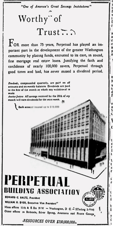 Perpetual Building Association advertisement, Washington Afro-American, February 4, 1958.