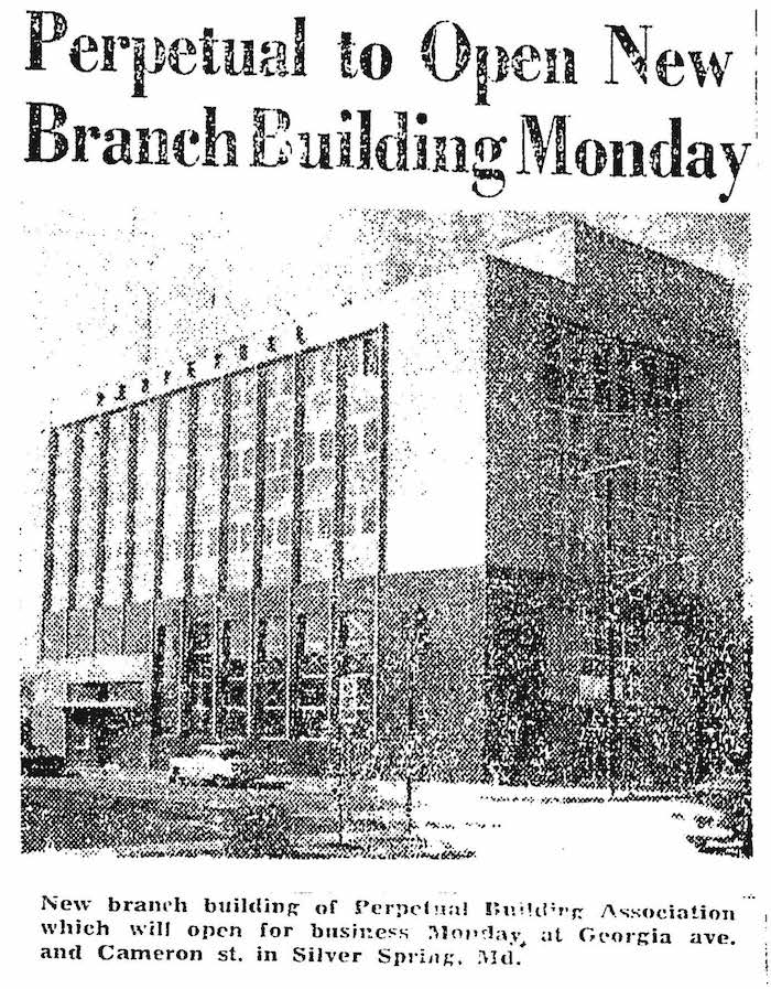 Article announcing the opening of Perpetual's Silver Spring Branch reproduced in 2007 historic designation documents. The Washington Post, January 12, 1958.