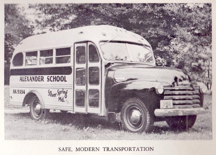 Alexander School bus. Photo courtesy of Kaye Giuliani.