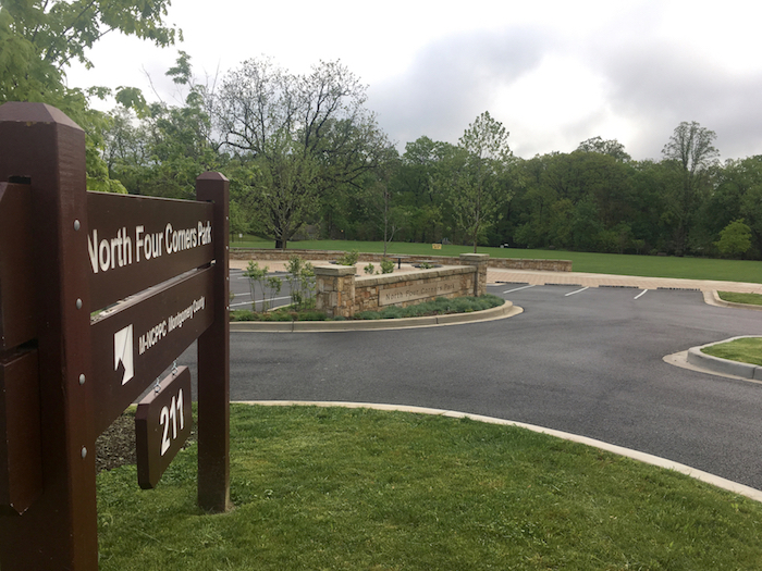 Newly renovated North Four Corners Park and former Alexander School site.
