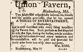 1804 Bladensburg tavern ad touting nearby Spa Spring. Photo credit University of Maryland Libraries.
