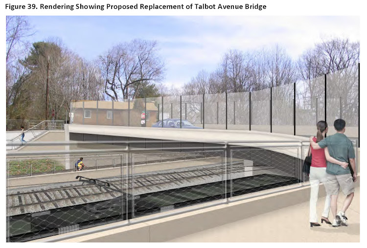 Talbot Avenue Bridge, rendering of proposed replacement bridge. Credit: Purple Line Section 106 document.