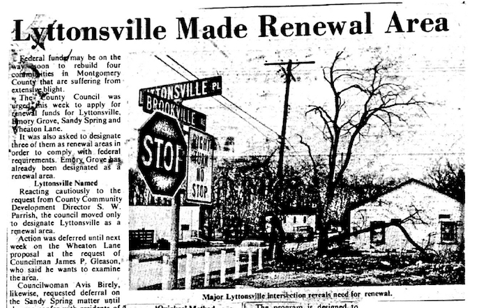 Undated newspaper clipping about urban renewal in Lyttonsville.