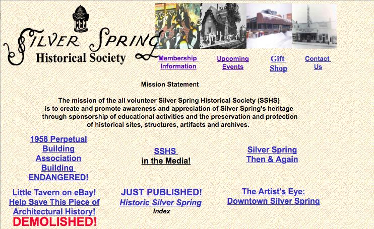 The Nostalgic Silver Spring. Silver Spring Historical Society website. Screen capture September 2016.